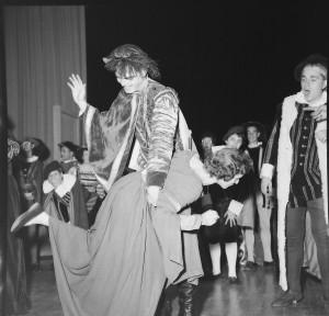 1959 Press Photo 2x2 Negative HS Play Boy Spanks Girl Kiss Me Kate